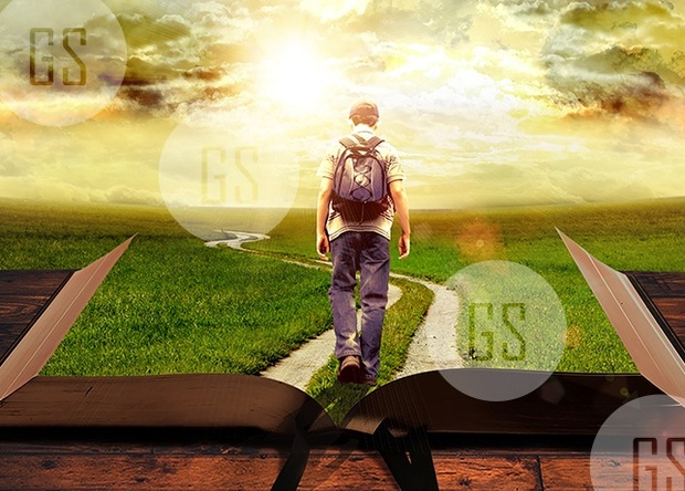 Man Walking on Path Leading Through Bible-1A