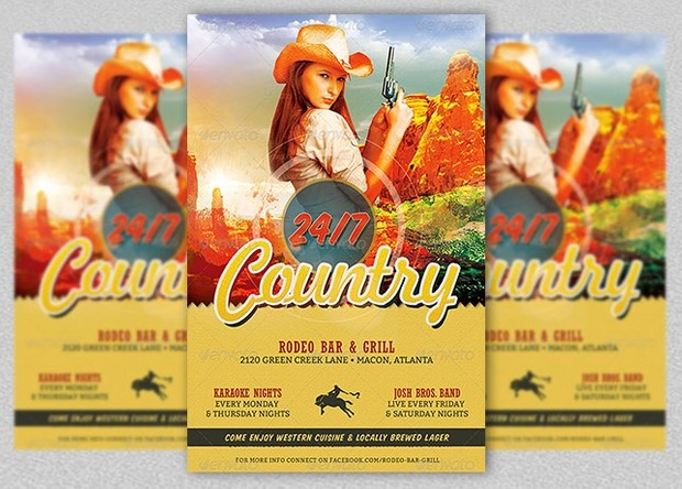 Country Bar and Grill Flyer Template