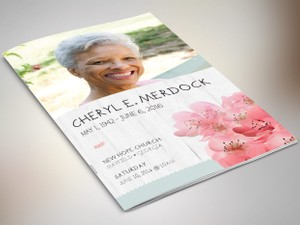 Magnolia Bi-Fold Funeral Program Publisher Template