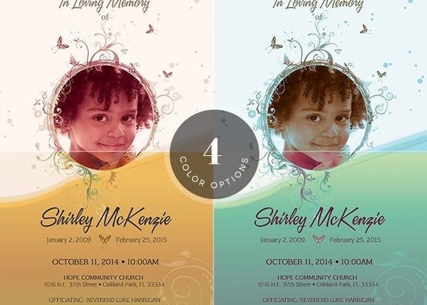 Princess Funeral Program Photoshop Template
