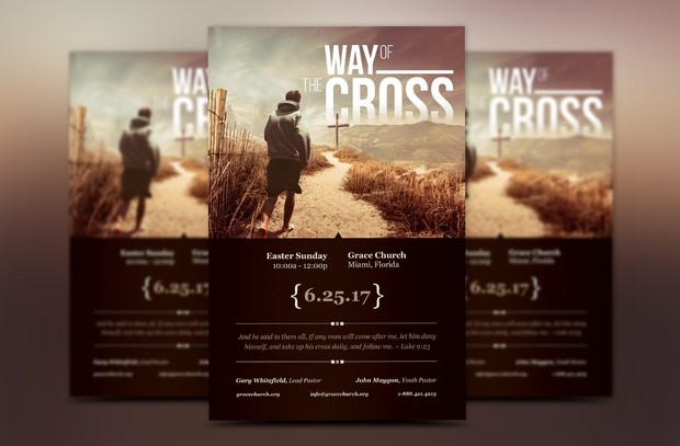 Cross Way Easter Flyer Poster Template