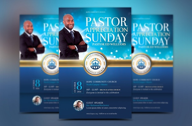 Blue Pastor Appreciation Flyer Template