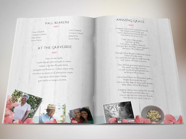 Magnolia Bi-Fold Funeral Program Publisher Template