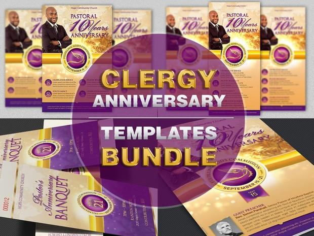 Clergy Anniversary Templates Bundle