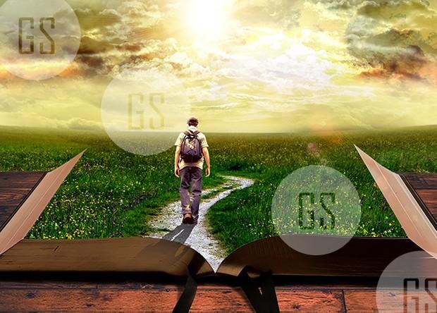 Man Walking on Path Leading Through Bible-2B