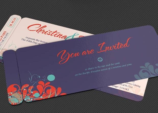 Wedding Pacific Boarding Pass Invitation Template