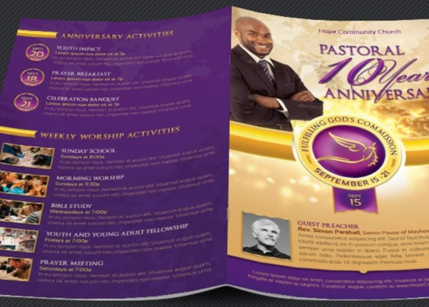 Clergy Anniversary Service Program Template