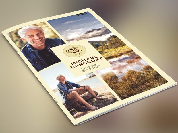 Nature Funeral Program Publisher Template