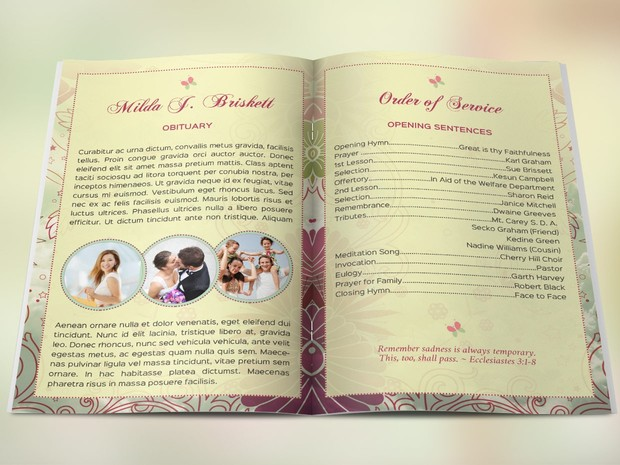 Memory Funeral Program Publisher Template