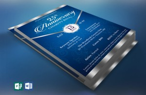 Blue Silver Anniversary Gala Flyer Publisher Word Template