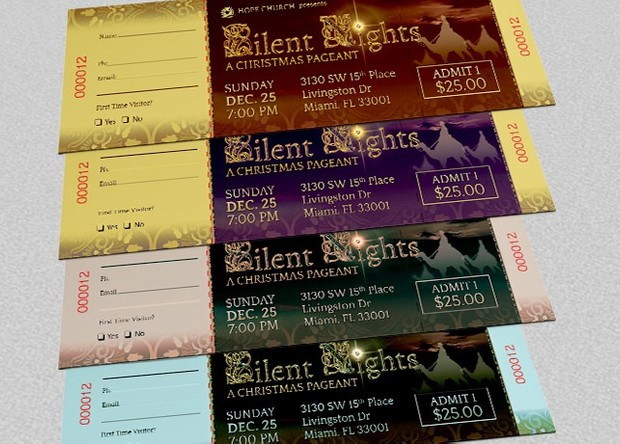 Silent Night Christmas Ticket Template