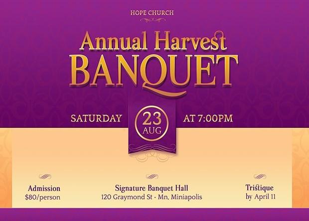 Church Harvest Banquet Postcard Template