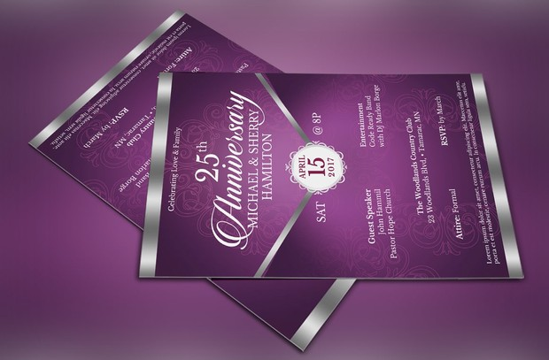 Purple Silver Anniversary Gala Flyer Publisher Word Template
