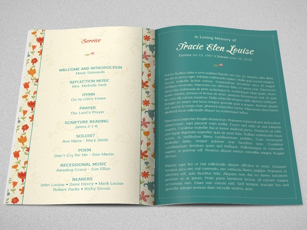 Floral Glory Funeral Program