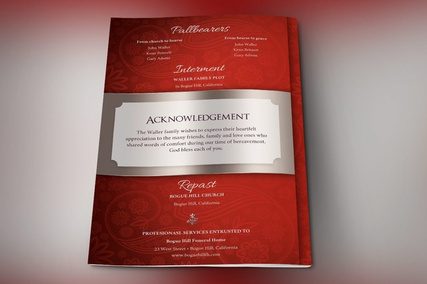 Crimson Dignity Funeral Program Publisher Template