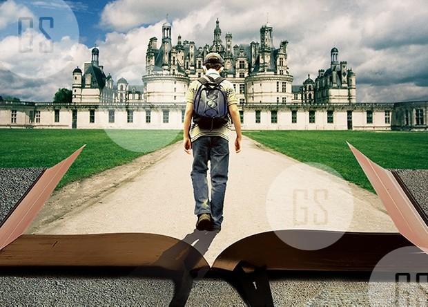 Man Walking on Path Leading Through Bible-3A