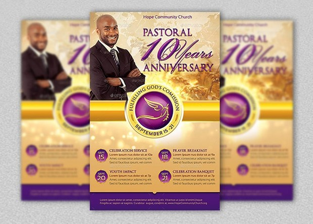 Clergy Anniversary Flyer Template