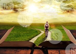 Man Walking on Path Leading Through Bible-1B