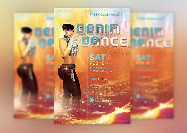 denim dance party flyer template godserv designs