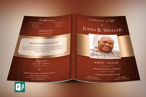 Copper Dignity Funeral Program Publisher Template