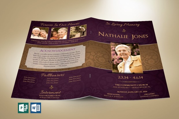 Royal Funeral Program Publisher Word Template - 8 Pages