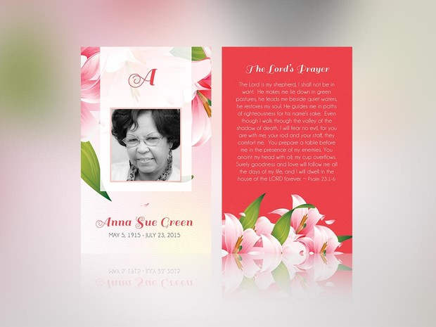 Petals Funeral Stationery Publisher Template Set