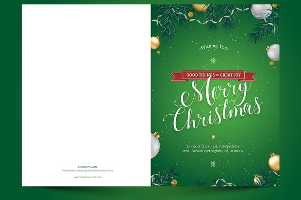 Green Christmas Greeting Card Template