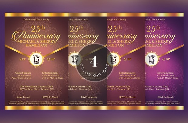 Lavender Anniversary Gala Flyer Template