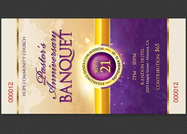 Clergy Anniversary Banquet Ticket Template