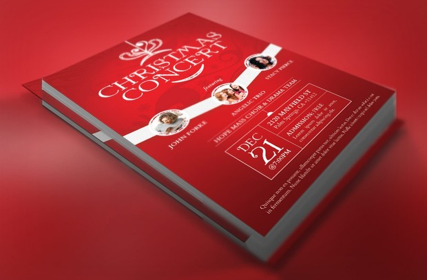 Red Christmas Concert Flyer Template