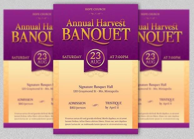 Church Harvest Banquet Flyer Template
