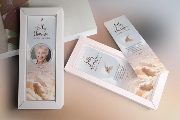 Heaven Memorial Bookmark Template