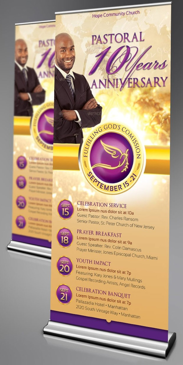 Clergy Anniversary Banner Template