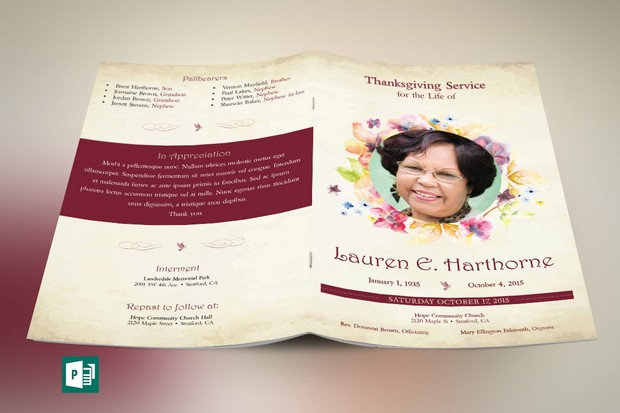 Watercolor Funeral Program Publisher Template