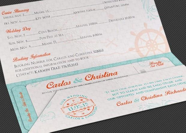 Wedding Cruise Boarding Pass Invitation Template