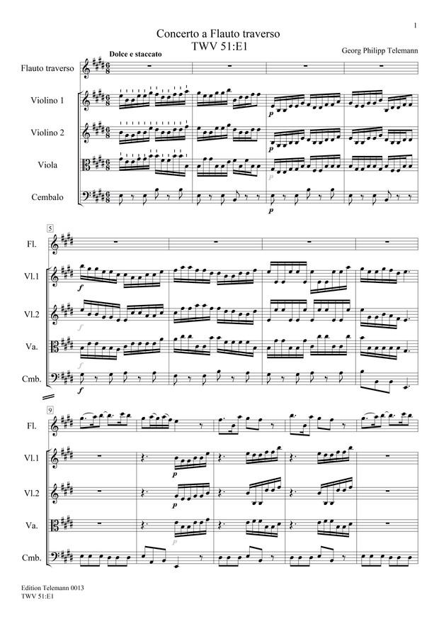 0013 Concerto in E TWV51:E1
