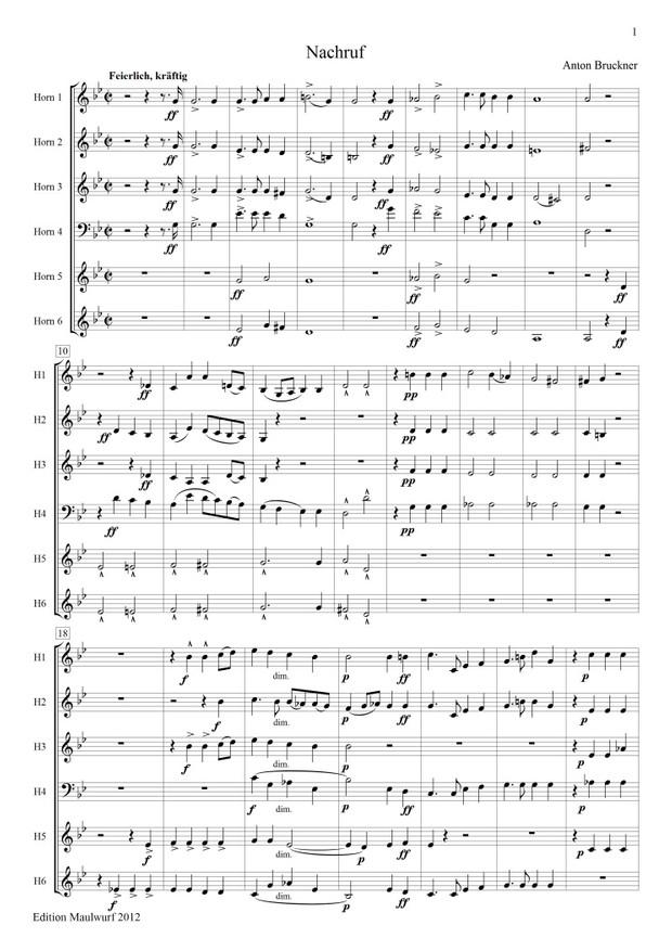 Bruckner: Nachruf (Hornensemble)