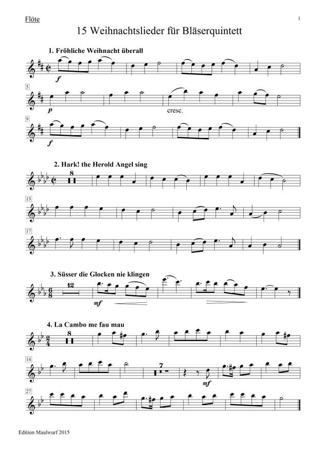 15 Weihnachtslieder für Bläserquintett