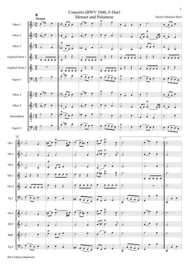 Bach Menuet und Polonaise (Oboenensemble)