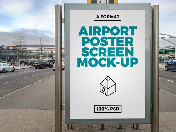 Free Airport Poster Screen Mock-Up 5