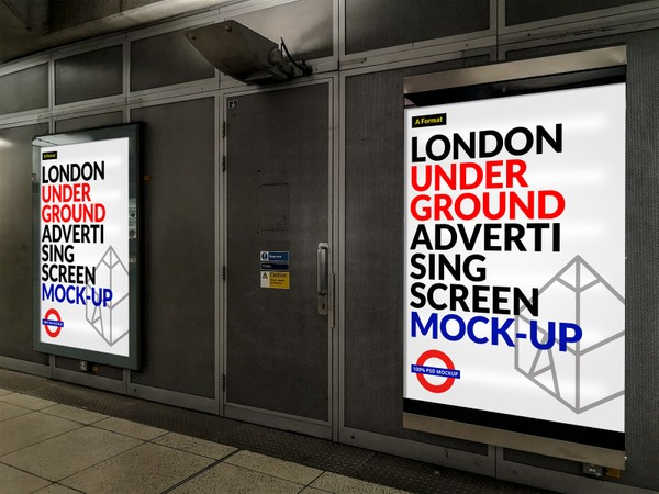 Free London Underground Advertising Screen Mock-Up 7