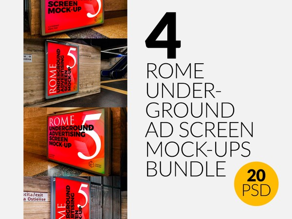 4 Rome Underground Advertising Screen Mock-Ups Bundle