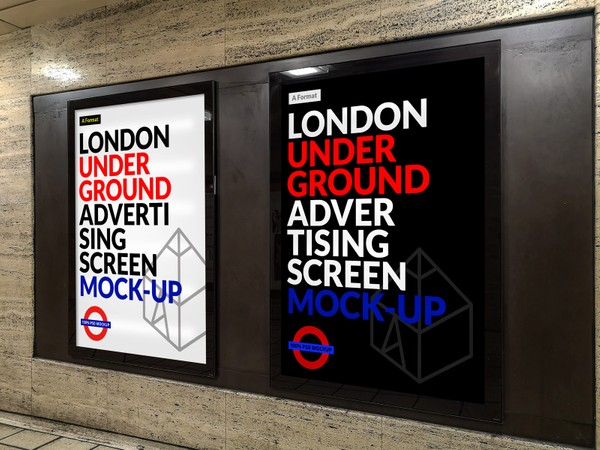 Free London Underground Advertising Screen Mock-Up 10