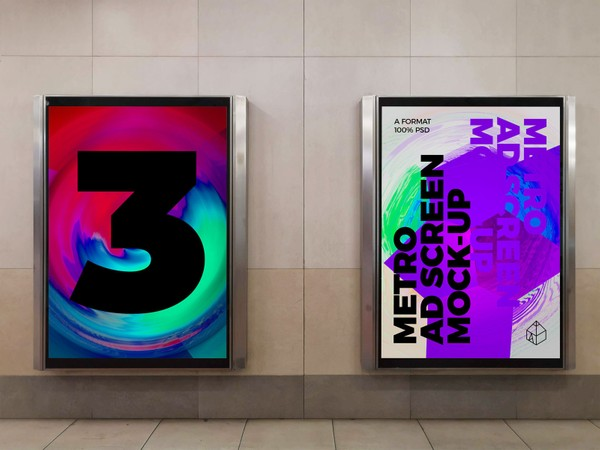 Metro Underground Advertising Screen Mock-Ups 8 (v.2)