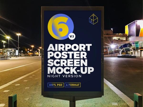 Airport Night Ad Screen Mock-Ups v.1
