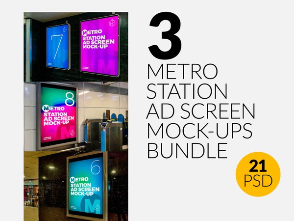 3 Metro Station Advertising Screen Mock-Ups Bundle