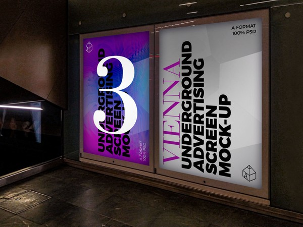 Vienna Underground Advertising Screen Mock-Ups