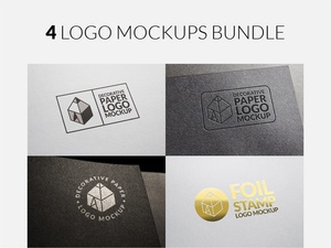 4 Logo Mockups Bundle