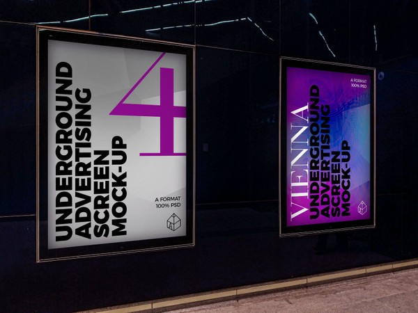 Vienna Underground Advertising Screen Mock-Ups 2