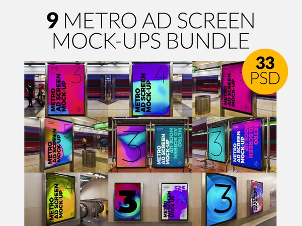 9 Metro Underground Advertising Screen Mock-Ups Bundle 5